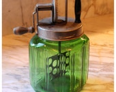 M5759 Antique Rare Green Glass Butter Churn with ribbed design