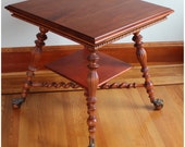 F3240 Antique Victorian Cherry Wood Center, Lamp, Occassional Side Table