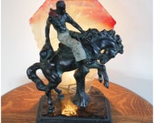 A1701 Antique Novelty Cowboy Lamp, Chalkware Bucking Bronco Table Lamp from 1920's - 1930's