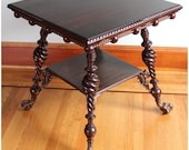 F3038 Antique 1880's American Victorian Rosewood Moorish Fretwork Center Table with Eagle Claw Brass Feet