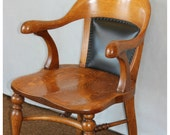 F3721 Antique Late 1800's American Quartersawn Oak Office Chair with Genuine Leather Backrest, Contoured Seat and Arm Rests
