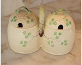 M4215 Antique Belleek Style Beehive Jam/Honey Jar with lids yellow & green