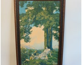 M4292 Original Antique Maxfield Parrish Lithograph Framed Art Print 'Hilltop' Large