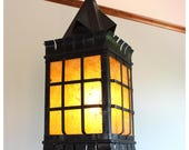 A7252 Antique Arts & Crafts Iron Lantern Pendant Light