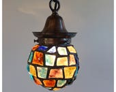 A8085 Antiques Austrian Chunk Glass Pendant Light