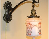 A8299 Pair Antique Art Nouveau Wall Sconces with Bellova  Glass Globes