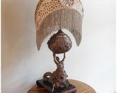 A8428 Antique Figural Pierced Metal Table Lamp with Fringed bugle beaded crescent shape silk shade