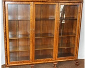 F4461  Antique 1890-1920's  American Golden Oak Triple Door Bookcase Display Cabinet