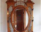 F4464 Antique American Victorian Quartersawn Oak Hall Stand with Oval Mirror, Coat Hooks and Seat