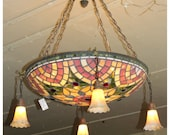 A7367 Antique Stained & Jeweled Glass Ceiling Bowl Light Fixture Chandelier Tiffany Style