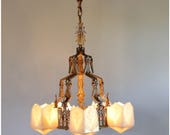 A8227 Art Deco Chandelier with geometric slipper glass shades
