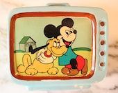 M9002 Vintage Disney 1960's rare ceramic television set bank of Mickey and Pluto