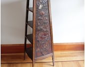 F4156 Antique Arts and Crafts, Craftsman Tooled Leather Oak Stand