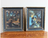 M5944 Set of two Antique Original Maxfield Parrish Framed Edison Mazda Lithograph art print calendar tops.Egypt, Primitive Man