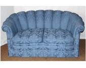 F4309 Art Deco Channel Back Love Seat Sofa