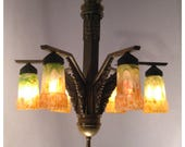 A7742 Circa 1920s Art Deco Heavy Cast Bronze Chandelier