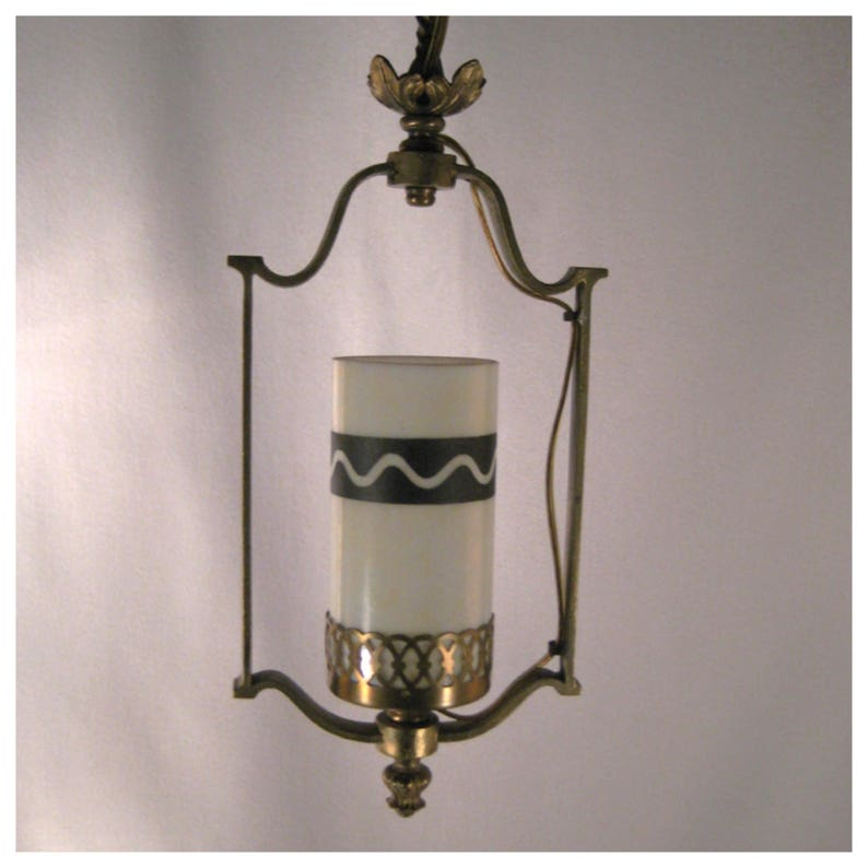 A7393 Vintage Cast Brass Harp Pendant Hall Ceiling Light image 0