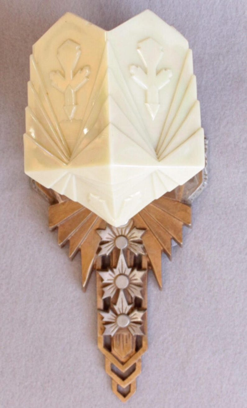 A8228 1920s-30s Art Deco Wall Sconces with geometric custard image 0