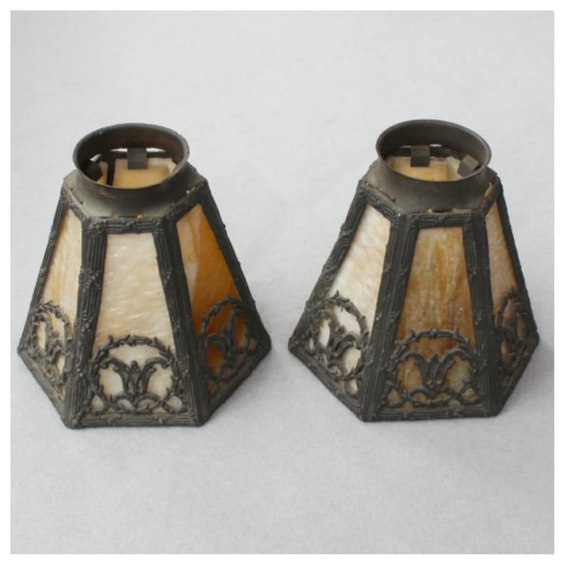 S1066 Antique Cast Metal and Slag Glass Shades with 2 image 0