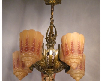 A3722 Antique Art Deco Hanging Ceiling Light Fixture Chandelier with Five Slipper Shades