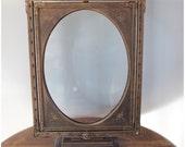 M5238 Vintage Victorian Freestanding Revolving Gesso Oval Reversable Picture Frame
