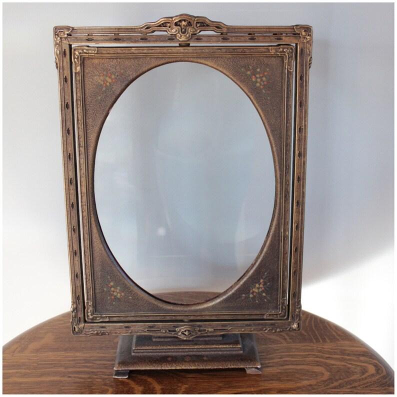 M5238 Vintage Victorian Freestanding Revolving Gesso Oval image 0