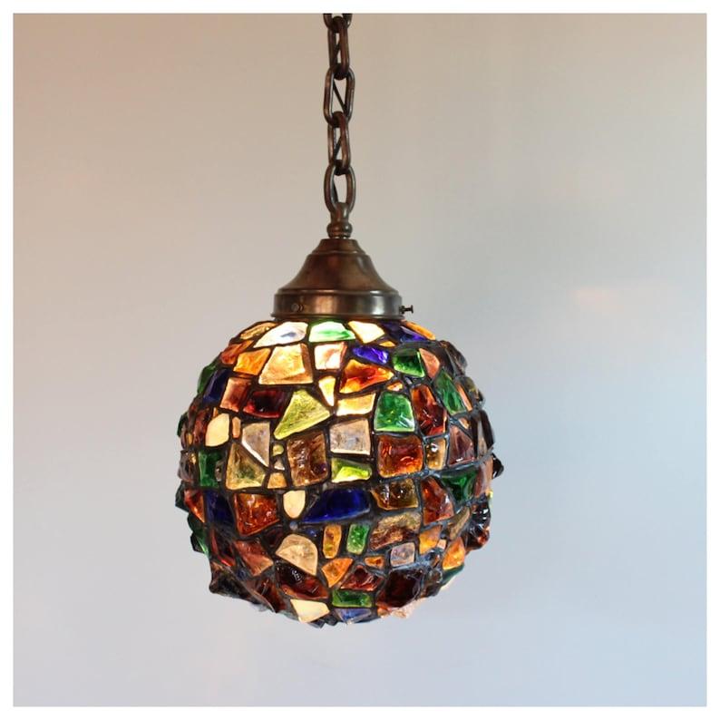 A8086 Austrian Chunk Glass Hanging Globe Pendant Antique image 0