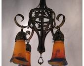 A7879 Antiques French Art Nouveau Iron & Art Glass Chandelier