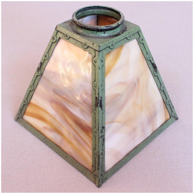 S1002 Antique Arts & Crafts slag glass Lantern Shades image 0