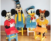 F3136 Vintage Disney Folkart Set of 4 Mickey Mouse Wooden Hand Made & Painted Child's Chairs