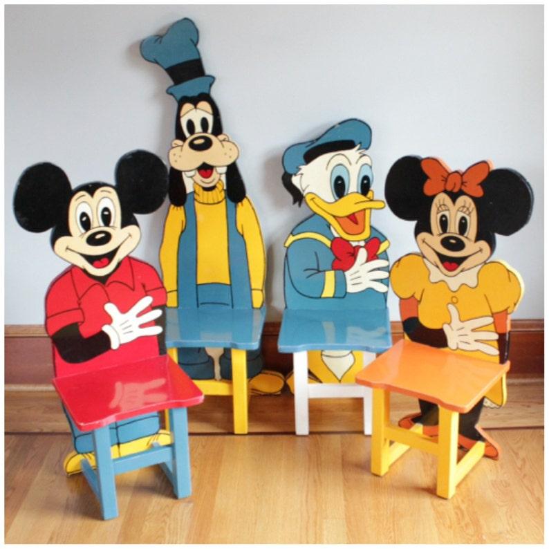 F3136 Vintage Disney Folkart Set of 4 Mickey Mouse Wooden Hand image 0