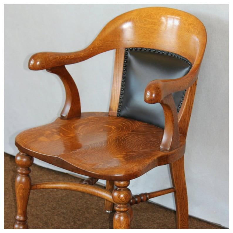 F3721 Antique Late 1800's American Quartersawn Oak Office image 0