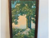 M4292 Original Antique Maxfield Parrish Lithograph Framed Art Print 'Hilltop' Large