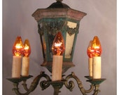 A6103 Antique Country French Chandelier with mirrored central body and six candle light branch arms