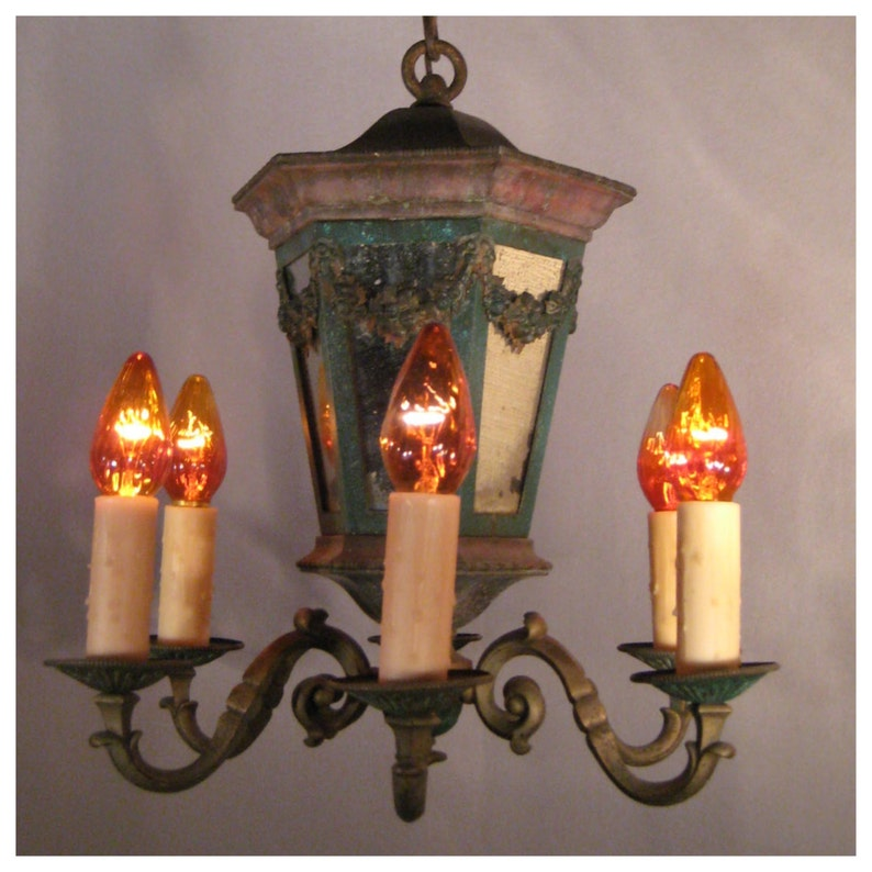 A6103 Antique Country French Chandelier with mirrored central image 0