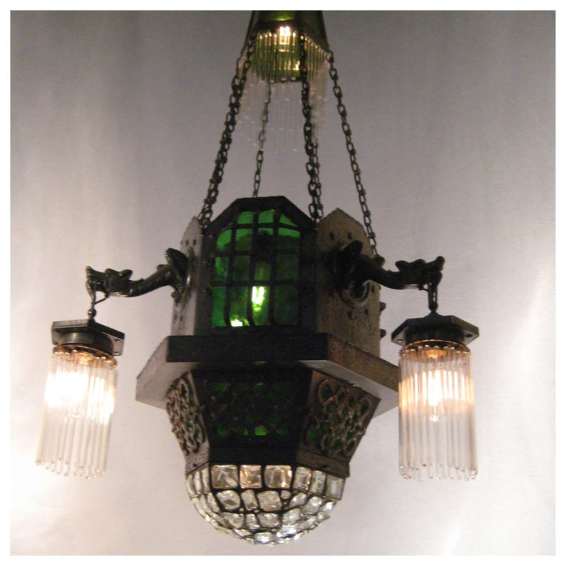 A7643 Antique Gothic Style Hammered Chandelier image 0