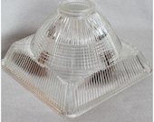 S1001 Vintage Square Hollophane Glass lamp, light Shade replacement glass