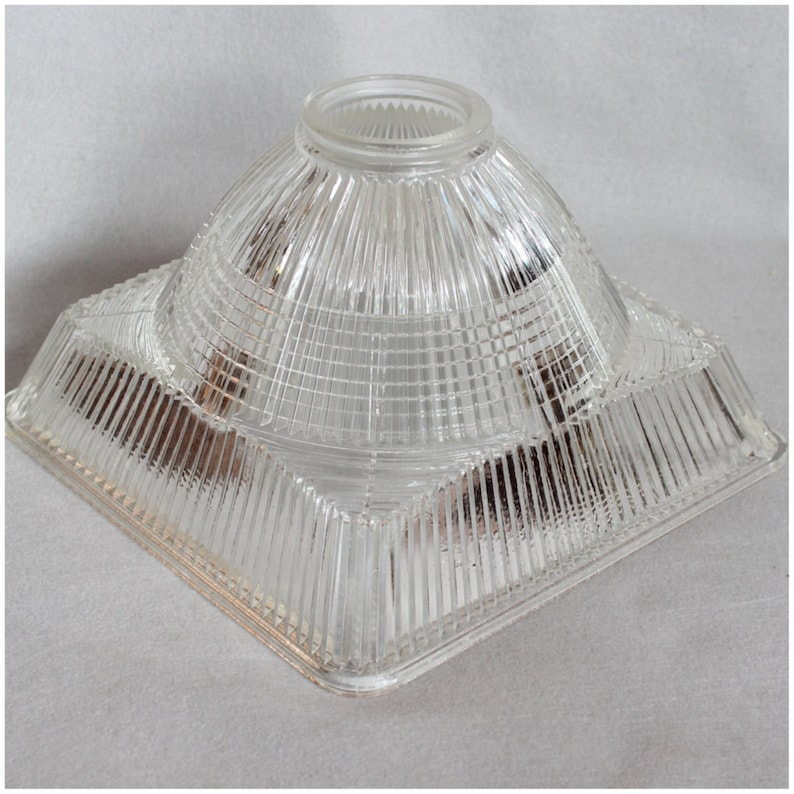 S1001 Vintage Square Hollophane Glass lamp light Shade image 0