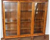F4461  Antique 1890-1920's  American Golden Oak Triple Door Bookcase Display Cabinet