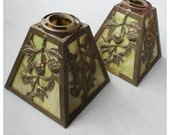 S1073 Antique. Victorian Cast Brass & Slag Glass Replacement Shades