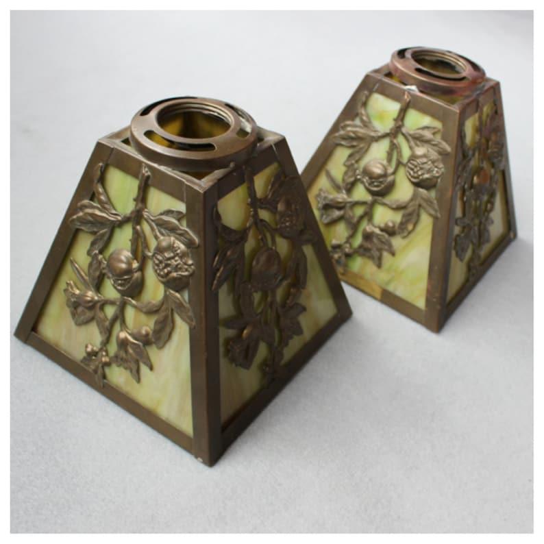 S1073 Antique. Pair of Victorian Cast Brass & Slag Glass image 0