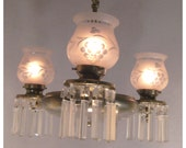 A6236 Antiques Colonial Revival Brass  Chandelier with crystal prisms