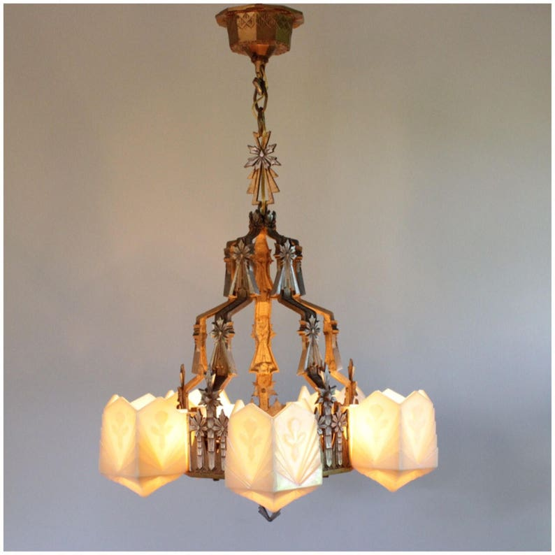 A8227 Art Deco Chandelier with geometric slipper glass shades image 0