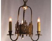 A4882 Antique Cast Bronze Three Candle Ceiling Chandelier Light Fixture
