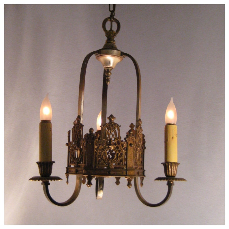 A4882 Antique Cast Bronze Three Candle Ceiling Chandelier image 0