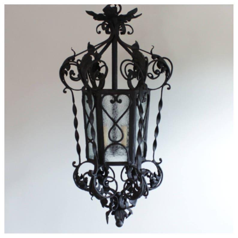 A7823 Antique French / Spanish Iron Lantern image 0