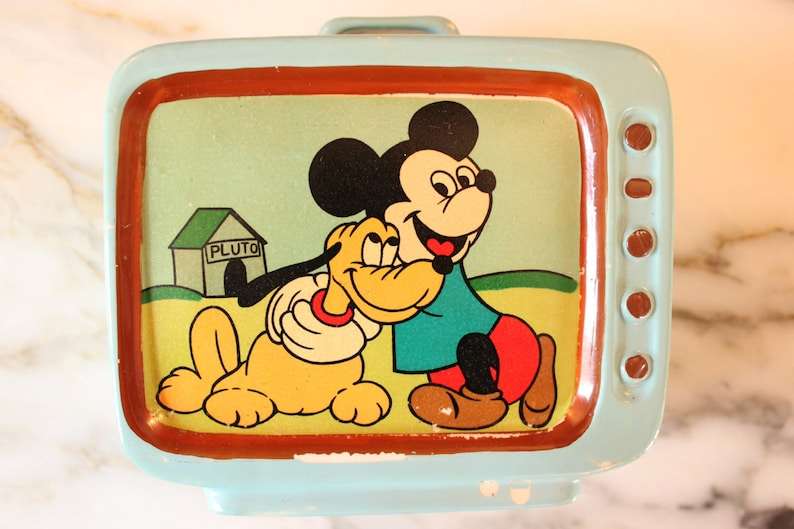 M9002 Vintage Disney 1960's rare ceramic television set image 0