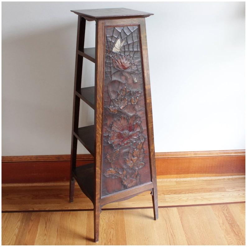 F4156 Antique Arts and Crafts Craftsman Tooled Leather Oak image 0