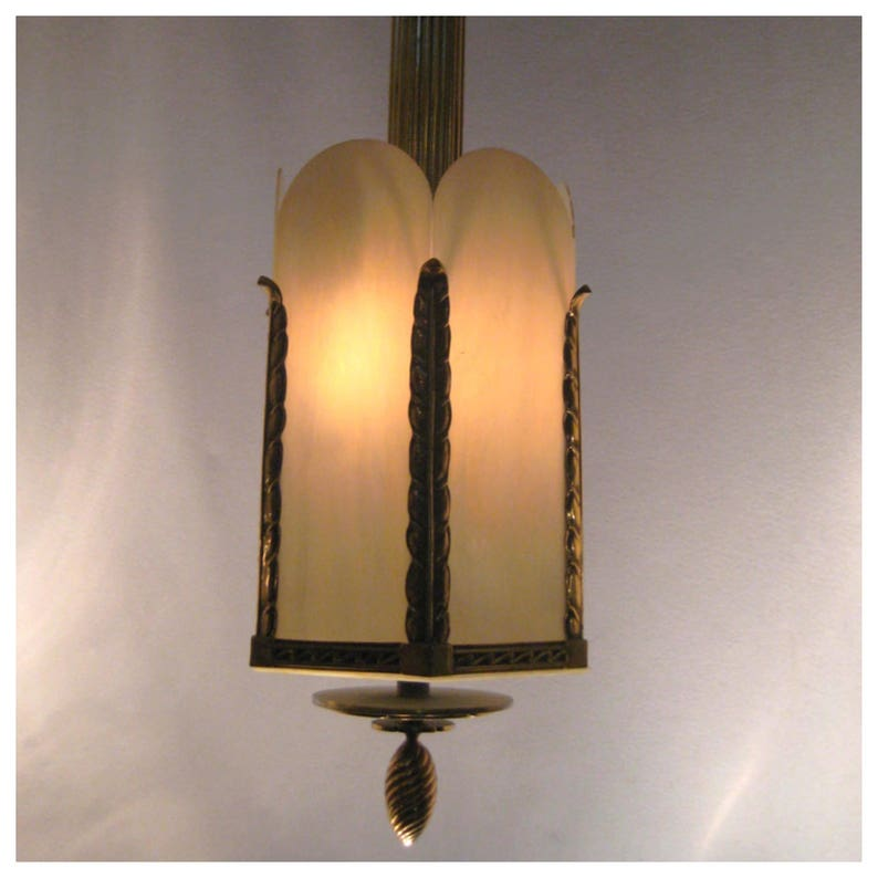 A7338   Antique Art Deco Bronze Theatre Ceiling Light Fixture image 0