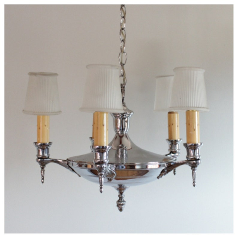 A2979 Antique Circa 1920's Chrome 5 Candle Hanging Ceiling image 0